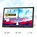 TOGUARD 13.3 Inch IPS Gaming Monitor CCTV Small Portable Display Screen HD 1920x1080 with Dual Mini HDMI Built-in Speakers, Support Two-Way Power Supply for PS3/PS4/Xbox/Raspberry Pi/WiiU Computer