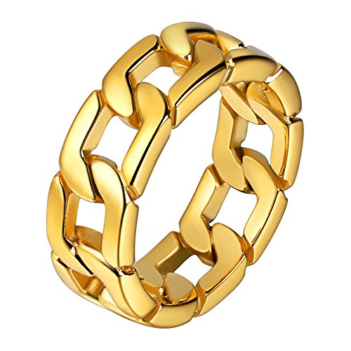 U7 18K Gold Plated 7mm Wide Band Cuban Link Chain Ring, Size 7 (Gold Rings Men)