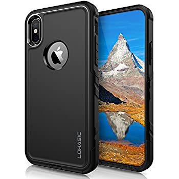 iPhone X Case, LOHASIC Heavy Duty Protective Hybrid Dual Layer Rugged Shockproof Bumper Cover [Military Grade] Drop Protection 360 Full Body Defender Cases for Apple iPhone X 10 (2017) - Black