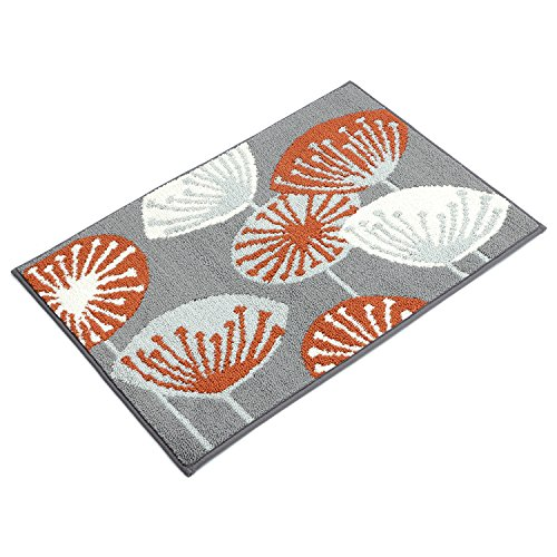 Seloom Kitchen Floor Rug with Non Skid Rubber Backing and Unique Flower Design, Durable Thick Door Mat for Kitchen Entrance/Laundry Room/Living room(24×36 Inch, 1 Piece) - Non Skid Kitchen Rug