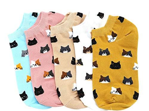 (SweatyRocks Women's 5 Pack Cat Print Low Cut Ankle Socks Cute Animal Socks)