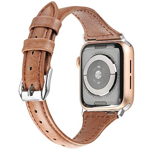 Secbolt Leather Bands Compatible Apple Watch Band 42mm 44mm Stainless Steel Buckle Replacement Slim Brush Off Leather Wristband Sport Strap Iwatch Series 4/3/2/1, ()
