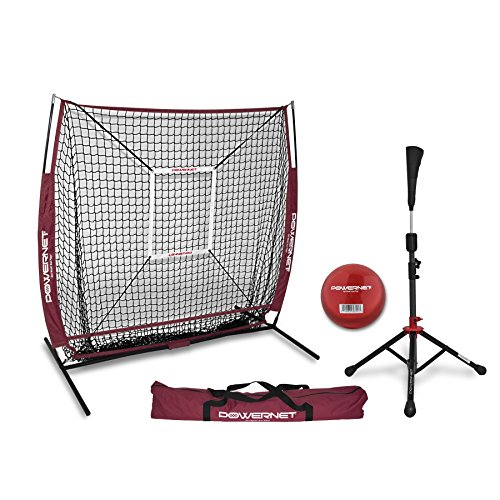 PowerNet 5x5 Practice Net + Deluxe Tee + Strike Zone + Weighted Training Ball Bundle (Maroon)   Baseball Softball Pitching Batting Coaching Pack   Work on Pitch Accuracy   Build Plate Confidence