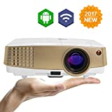 EUG LED Smart Mini Projector Wifi Android Projector 1080P HD Portable LCD Wireless Home Video Projector with HDMI USB for iPhone Android Phone iPad Mac Samsung Galaxy Laptop Tablet TV Movies Games