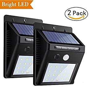Solar Motion Light, Super Bright Sensor Garden Night Lights, 20 LED Waterproof Security Wall Lights Wireless Outdoor Powerful Detector LED Lights for Garage Door Path Walkway Patio Deck Shed (2 Packs)