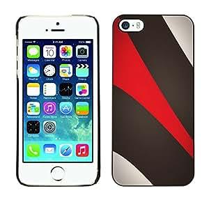 Cubierta de la caja de protección la piel dura para el Apple iPhone 5 / 5S - Khaki Beige Red
