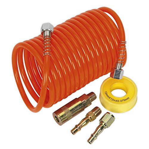 Sealey AHK03 Air Hose Kit 5mtr x Ø 5mm PU Coiled with Connectors