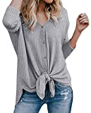 Chuhee Women's S-3XL Button Down Blouse Shirt Tie Knot Thermal Tops Gray M