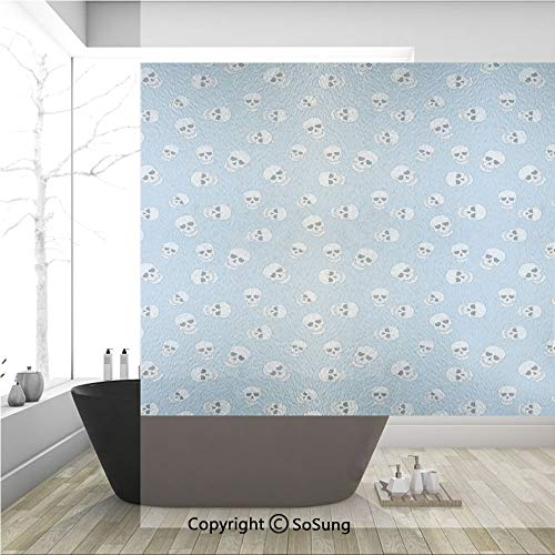 3D Decorative Privacy Window Films,Head Bone Skeletons Pattern Creepy Art Prints,No-Glue Self Static Cling Glass Film for Home Bedroom Bathroom Kitchen Office 36x36 Inch ()