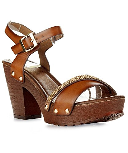 Women's Chunky Platform Clog Heeled Sandal Two Tone Rhinestone Sling Back Stud Decor Open Toe Summer Shoes VT02 Tan 8.5