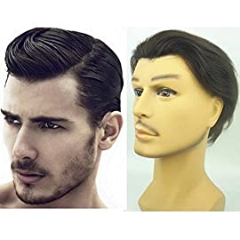 Human Hair Toupee for Men NLW European Human Hair Pieces Mens with 10×8″ Super Thin French Lace #1B Off Black