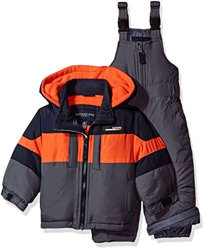 London Fog Baby Boys 2-Piece Snow Bib and Jacket Snowsuit, Navy/Orange, 12M