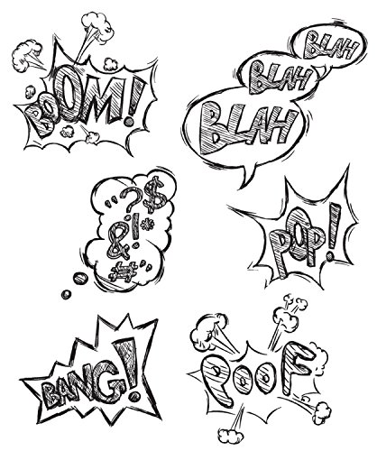 """Stampers Anonymous Tim Holtz Cling Rubber Stamp Set, 7"""" by 8.5"""", Crazy Thoughts"""
