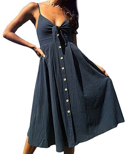 Solid Color Women Dresses - Womens Summer Sleeveless Strap Button Down Tie Front Sundress A-Line Swing V Neck Solid Color Midi Dress Turquoise M