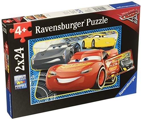 Ravensburger Disney Cars 3 I Can Win 2 In A Box 24 Piece Jigsaw Puzzle for Kids - Every Piece is Unique, Pieces Fit Together ()