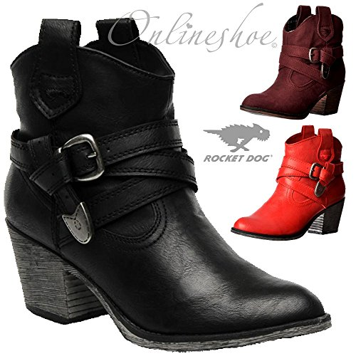 Damen Satire Schwarz Rocket Dog Stiefel angAgEq