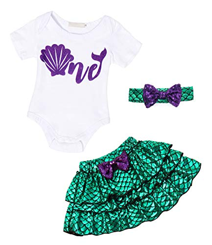 Baby Girl First Birthday Themes (AmzBarley Little Mermaid Outfit Set for Baby Girls First Birthday Ariel Theme Party Dress Up Princess Rommer Bodysuit Fish Scale Mermaid Skirt with Headband Size)