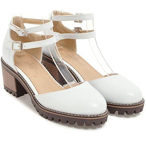 TAOFFEN Sandals Strap Heel Women Mid White Ankle rvqH4rnw