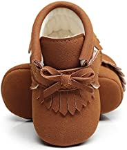 HONGTEYA Baby Girls Boots - Warm Winter Moccasins with Fur Bowknot Fringe PU Leather Crib Toddler Shoes