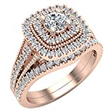 Round Cut Cushion Shape Double Halo Vintage Diamond Wedding Ring Set 0.80 carat total weight 14K Rose Gold (Ring Size 6): more info