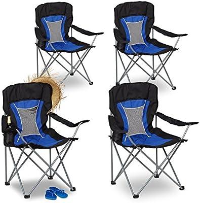 Relaxdays Pack de 4 Sillas Plegables Camping para Pesca y ...