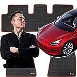 Tesla Model 3 Floor Mats Set - All Weather - Nonslip Heavy Duty Rubber (2017-2019) Driver, Passenger and Back Seat Mat