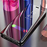 BIGZOOK® Luxury Clear View Electroplate Mirror Protective Leather Flip Cover for One Plus 6T [1+6T] oneplus 6t [2018 Launch] (Black)