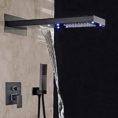 Shower Faucet Oil Rubbed Bronze LED Lights Shower Faucet 3 Ways Mixer Tap Valve W/ Hand Shower