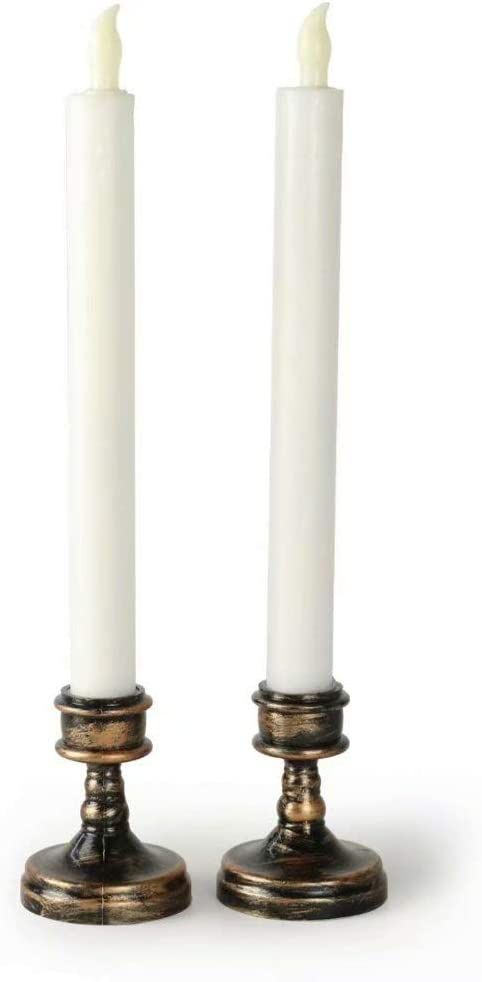 2//8 Battery Operated Flickering Taper LED Wax Taper Candles for Wedding  Dinner