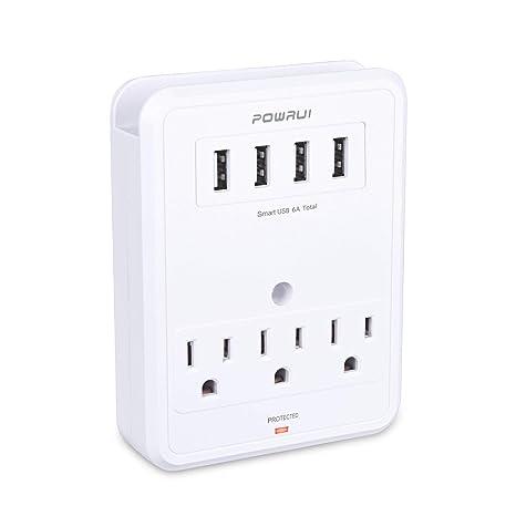 Amazon.com: POWRUI Adaptador de toma de corriente múltiple ...