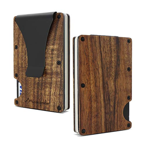 Acacia Koa Wood Credit Card Holder Wooden Case Slim RFID Blocking Metal Wallet Money Cash Clip Collection Anti Scan