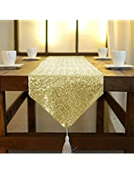 Shinybeauty Sequin Tassel Table Runner 12 By 120 Inch Gold, Tassel Table  Cloth Runner, Tassel Table Linen Runner (Gold)