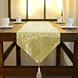 ShinyBeauty Sequin Table Runner with Tassel 12inX84In Gold, Dining Table Runner Sequin Hotel Coffee Table Runners or Wedding Party Decoration