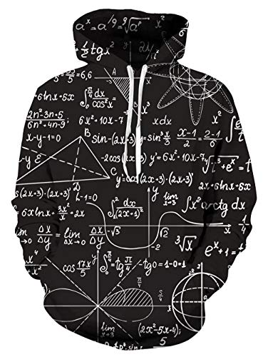 Uideazone Juniors Math Formula Pullover Hoodie Cool Hooded Sweatshirts Black