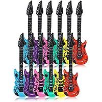 Schramm® 12 Stück Luftgitarren Bunt 100cm in 6 Farben Luft Gitarre Air Guitar aufblasbar 12er Pack