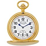 Gotham Men's Gold-Tone Railroad Dial Double Hunter 17 Jewel Mechanical Pocket Watch # GWC18806G
