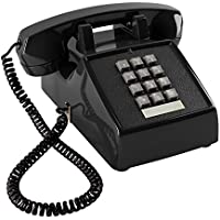 Home Intuition Amplified Single Line Corded Desk Telephone with Extra Loud Ringer, Black