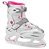 Lake Placid Monarch Girls Adjustable Ice Skate, White/Pink, Small 11-2