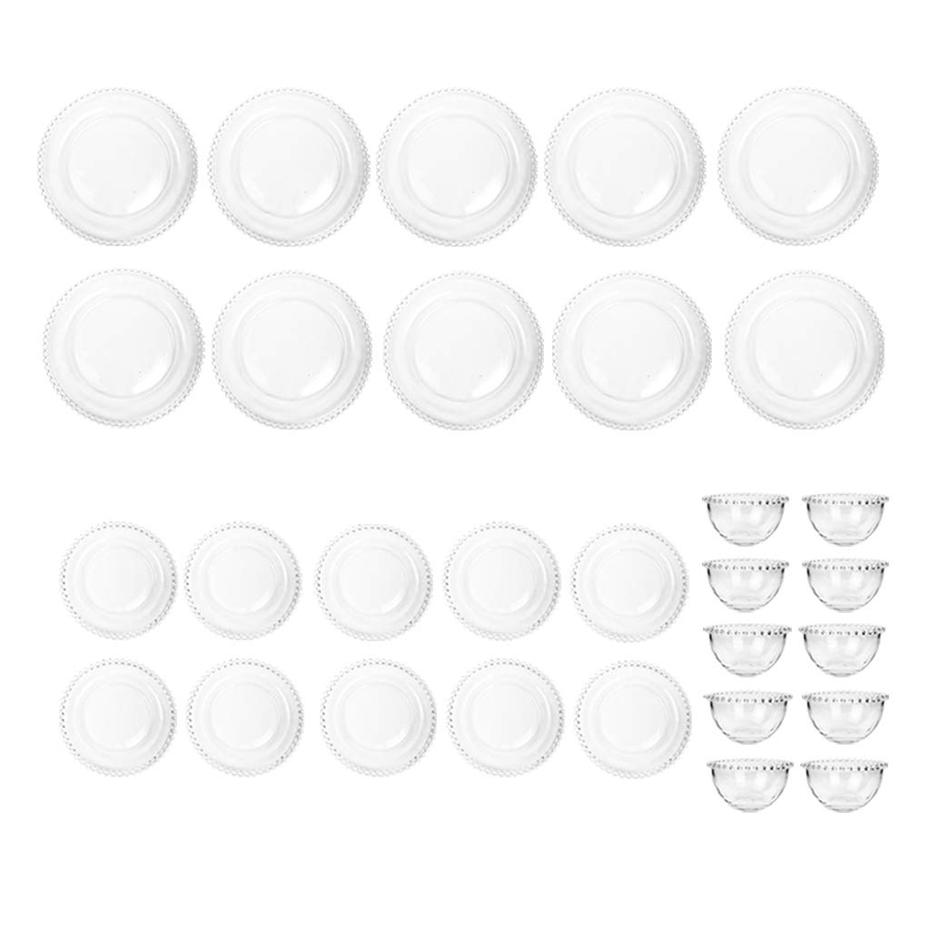 Dibor - French Style Accessories for the Home 10 Place Setting Bella Perle Beaded Dinner Service Crockery Glass Plates Bowls