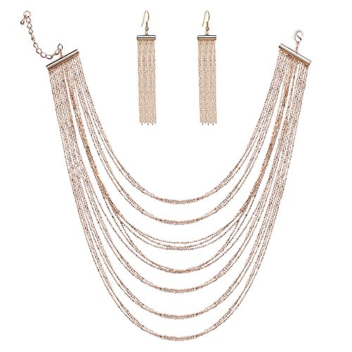 BABEYOND Women's Waterfall Multi Strand Chain Necklace and Tassel Earrings Set Brass Luxury Multilayer Necklace Fashion Jewelry (Multi Strand Waterfall Necklace)