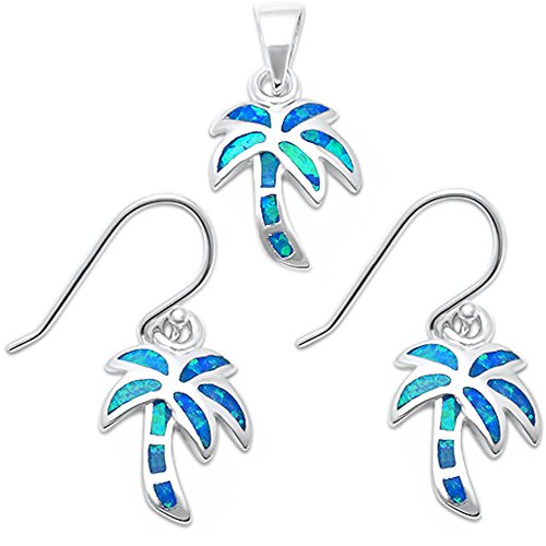 Blue Tree Palm (Lab Created Blue Opal Palm Tree .925 Sterling Silver Earring & Pendant Set (Lab Created Blue Opal))