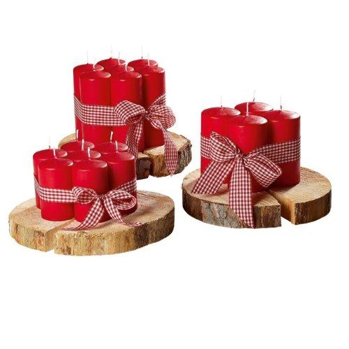 Stumpenkerzen 'Helena' in Rot, Packung mit 8 Kerzen, Höhe: 13 cm, Ø 7 cm, Brenndauer ca. 44 h., selbstlöschend, Safe Candle, RAL-Gütezeichen