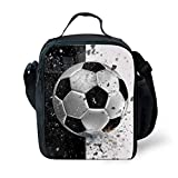Showudesigns Polyester Lunch Box Food Cooler Bag School Kids Boys Lunch Tote Pouch Soccer Design