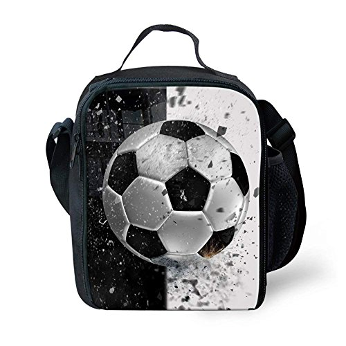 Showudesigns Polyester Lunch Box Food Cooler Bag School Kids Boys Lunch Tote Pouch Soccer Design by Showudesigns