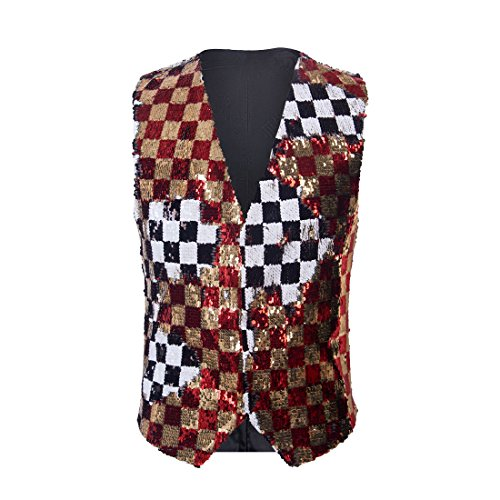PYJTRL Mens Fashion Double-Sided Two Colors Sequins Waistcoat Vest (Gold red + Black and White, US 44R) ()