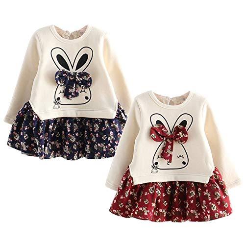 Bowknot Rabbit (Kid Girl Dress Floral Brushed Rabbit Bowknot Skirt Long Sleeve Spliced Dress (Red, 2T-3T))