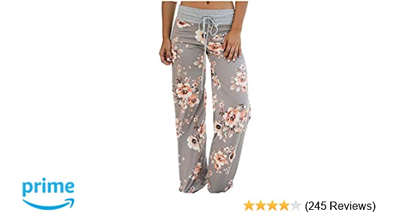 c7e01c7f10c Aifer Womens Pajama Comfy Chic Floral Print Lounge Drawstring Palazzo Long  Wide Leg Pants BE-1886