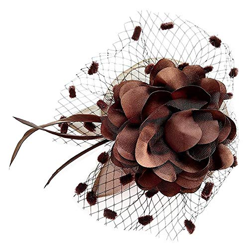 Price comparison product image Womens Headband Veil Flower Hair Clip Cocktail Tea Party Headwear Coffee C1K2
