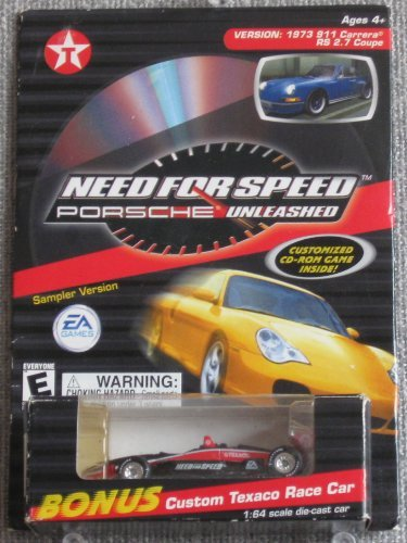 Texaco Custom Race Car 1:64 scale die-cast replica with Need For Speed Porsche Unleashed Customized CD-Rom Game sampler version from EA Games