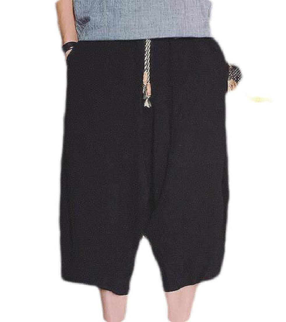 CRYYU Men Casual Elastic Waist Linen Capri Wide Leg Baggy Harem Pants Trousers